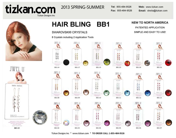 BB1 Hair Bling - Each package has 8 Swarovski Hair Crystals and 2 Application Tools. The BB1 is available in many colours.