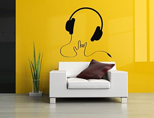 Wall Vinyl Sticker Decals Mural Room Design Pattern Music Melody Headphones  Rock Bo277