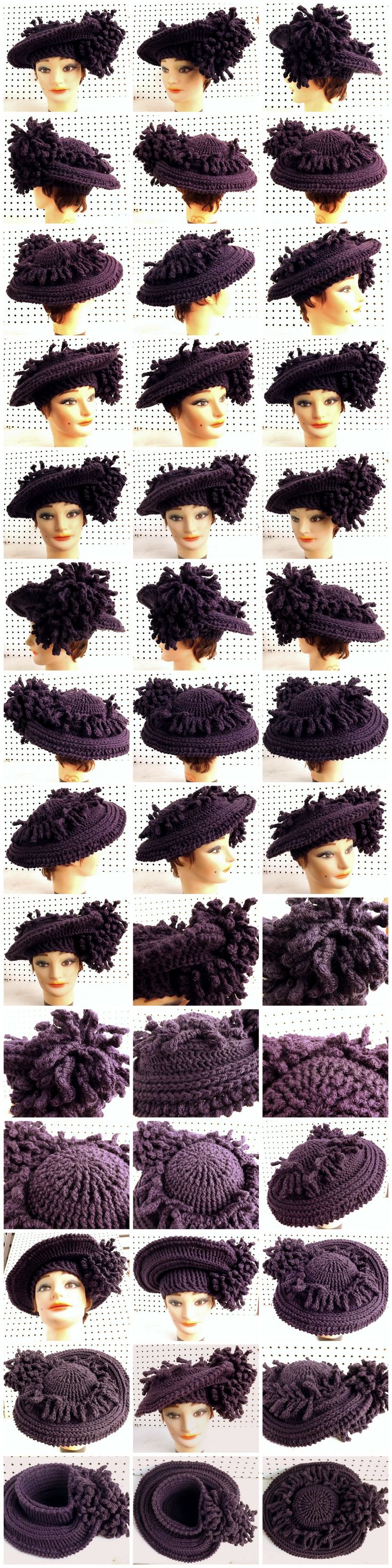 DERBY Crochet Wide Brim Hat in Purple - either a doll's hat or uses very thick yarn - link says no longer available