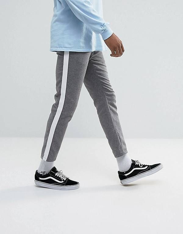 406f27e93a403 ASOS Slim Cropped Trousers In Grey Nepp With Side Stripe   Stuff to ...