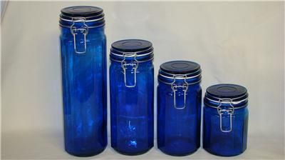 Cobalt blue glass canisters storage jars set of 4 glass canisters storage jars and canister sets - Blue glass kitchen canisters ...