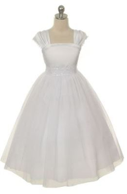 Absolutely elegant dress for a flower girl, junior bridesmaid or for First Communion. Dress is simple yet it gives off the air of luxury. Pleated cap sleeves with venetian lace edging, beaded and sequinned lace applique on the waist. Ankle or floor length princess cut dress. Comes with a sash on the sides that you can tie into a beautiful bow for a tailored and fitted look. Tulle skirts with lining and sewn in crinoline for a just perfect and not overly done volume.