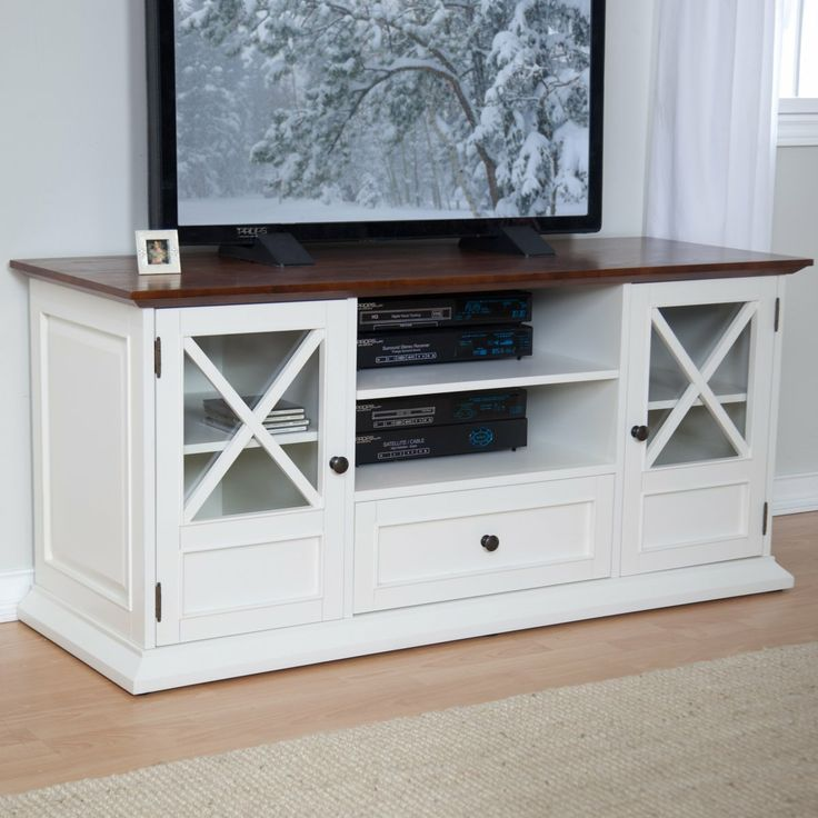The Hampton 55 inch TV Stand - White/Oak - Traditional TV Stands at Hayneedle