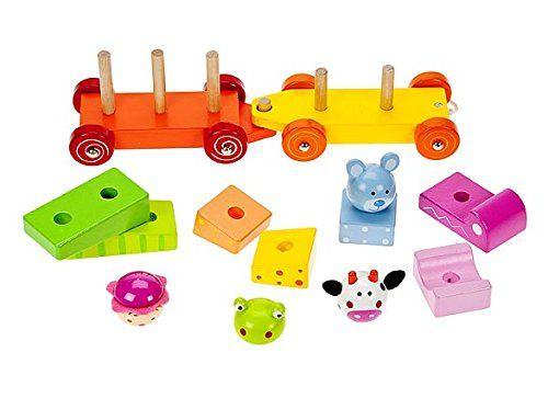 Petit train à tirer avec jouets à empiler en bois pour enfant premier âge pour fille ou garçon: Amazon.fr: Jeux et Jouets