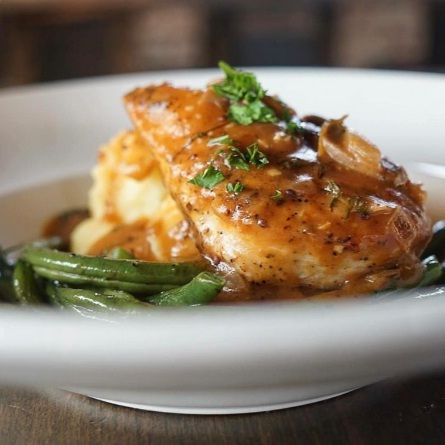Potato & Bacon Soup, Buttermilk Fried Chicken Sandwich, Hunter Chicken & Pumpkin Spice Cheesecake – Feature Menu Oct 31 – Nov 6, 2016 - HUNTER CHICKEN Pan seared chicken breast served with oven roasted green beans and u y mashed potatoes, smothered in a house made Dijon mushroom gravy