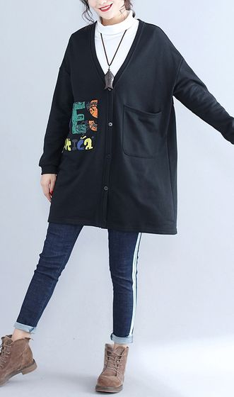 2017-fall-black-alphabet-print-cotton-coat-plus-size-v-neck-hooded-cardigans-outwear