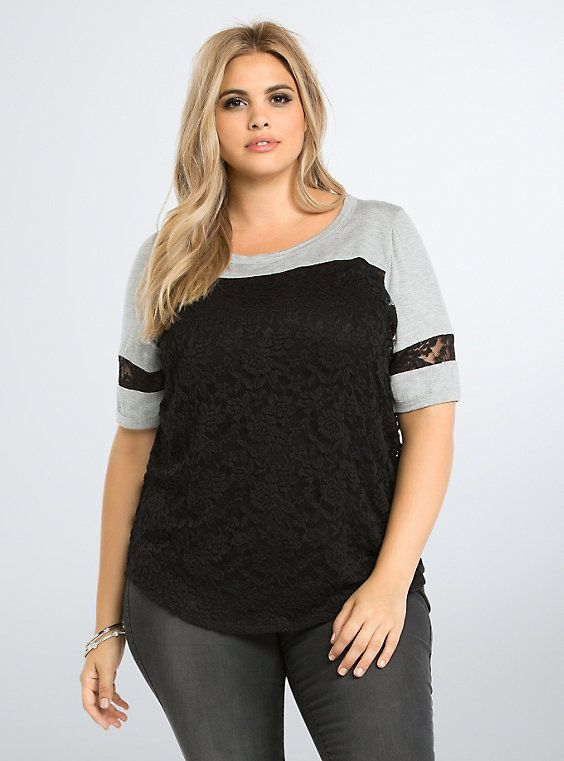 Plus Size Lace Football Top,