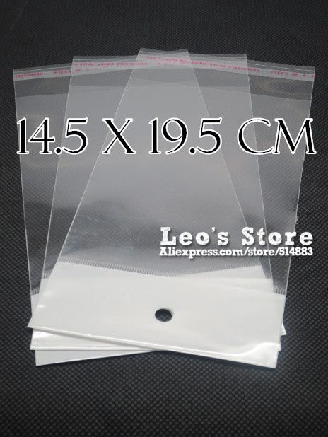 14.5x19.5cm Self Adhesive OPP Bag With Hanging Hole, Clear Header Plastic Bag,Supermarket Bag,wholesale free shipping #Affiliate