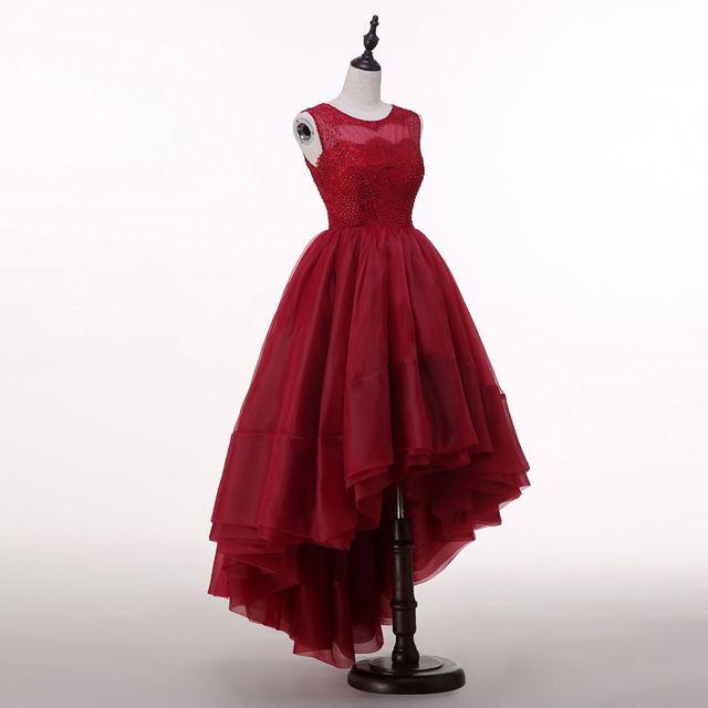 Myriam Fares borgoña rojo alto bajo una línea de baile Vestidos sin mangas árabe Dubai trasero largo delantero corto Vestidos Festa párrafo Curto