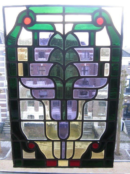 Prachtige oude grote Jugendstil hangraam met zachte kleurtjes glas-in-lood met mozaïek stukjes uit mondgeblazen glas - ca. 1900