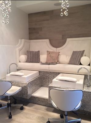 White Nail Salon   Pedicure Area Tiffany Pedicure Bench By Michele Pelafas,  Inc. Owner Lauren MacVean Has Fabulous Taste!