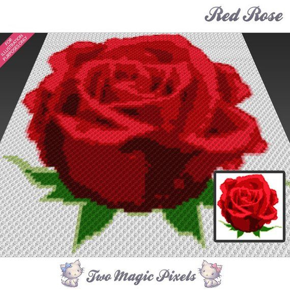 Red Rose Crochet Graph C2c Row By Row Counts Instant Pdf Download Crochet Square Patterns Crochet Blanket Patterns C2c Crochet Blanket