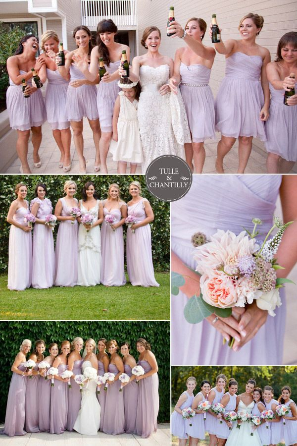 purple wedding ideas - orchid tint pale purple bridesmaid gowns for spring summer wedding