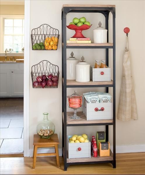 Hang wire baskets on the wall to store fruit rather than taking up valuable counter space.