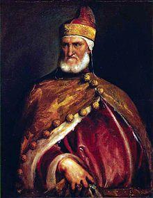 Italian Renaissance: traditional Doge headdress and golden brocade gown