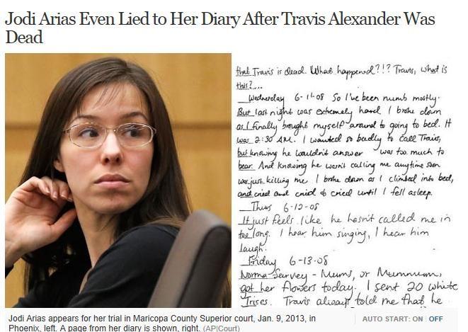 jodi arias dead woman walking | Jodi Arias Even Lied to Her Diary After Travis Alexander Was Dead ...