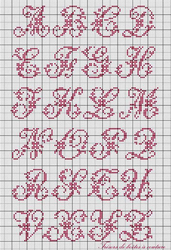 Cross stitch alphabet - cursive