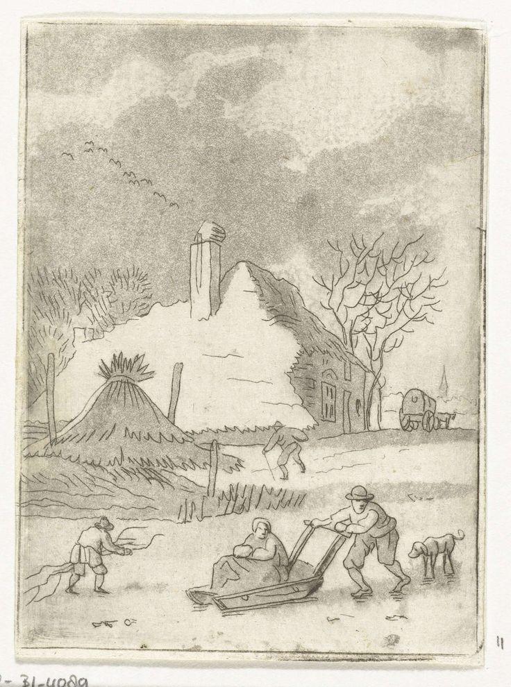 Anthonie van den Bos | Winterlandschap met ijsvermaak, Anthonie van den Bos, 1778 - 1838 | Winterlandschap. Op een bevroren rivier duwt een boer een slede met een vrouw. Achter hem aan loopt een hond. Links loopt een jongen die takken vergaart heeft. Op de achtergrond een huis met een kar ervoor.