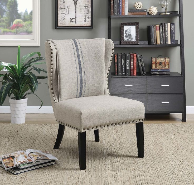 Coaster CS496 Traditional Grey And Blue Accent Chair