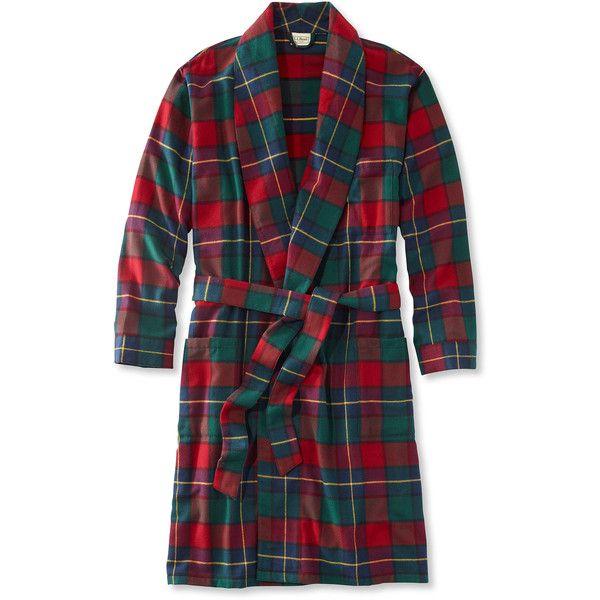 L.L.Bean Men's Scotch Plaid Flannel Robe (240 RON) ❤ liked on Polyvore featuring men's fashion, men's clothing, men's sleepwear, men's apparel, mens flannel bathrobe, mens sleepwear, mens clothing and mens flannel sleepwear