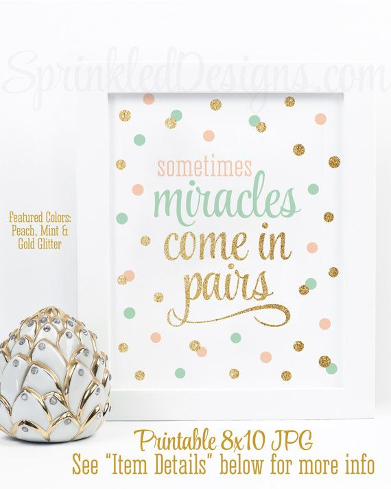 Sometimes Miracles Come In Pairs - Twin Nursery Decor, Twin Girls Room Decorations, Wall Art Printable Sign, Peach Mint Green Gold Glitter