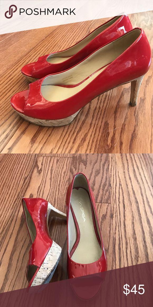 Red Via Spiga heels Peep toe pumps - great condition! Via Spiga Shoes Heels