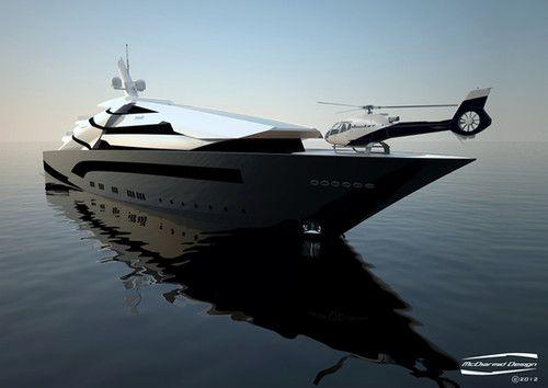 futuristic, Superyacht Iwana, future, watercraft, Alex McDiarmid, helicopter, luxury yacht, future, concept