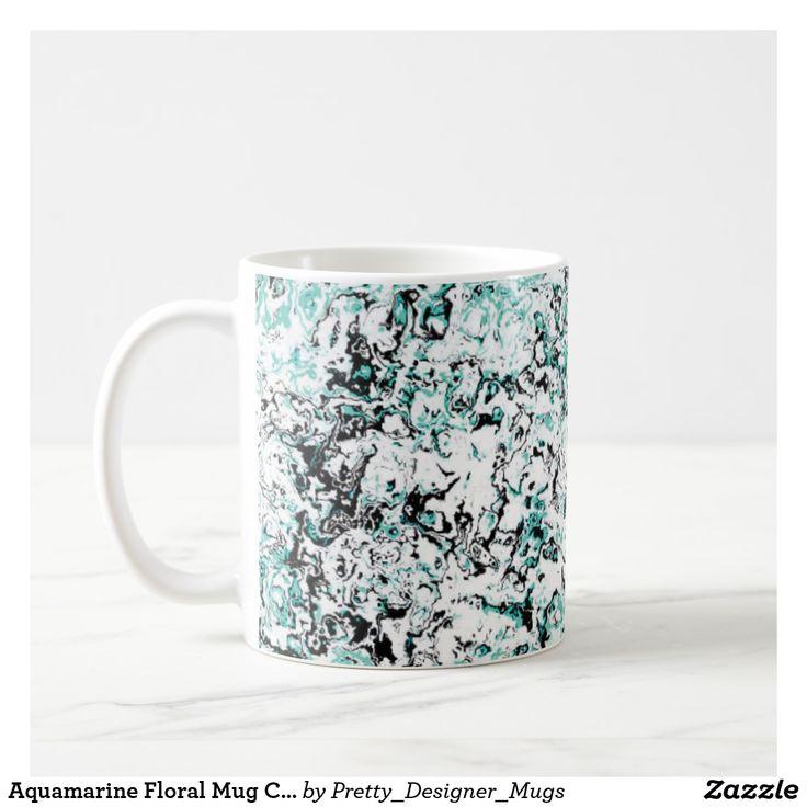 Aquamarine Floral Mug Cup designer Mug