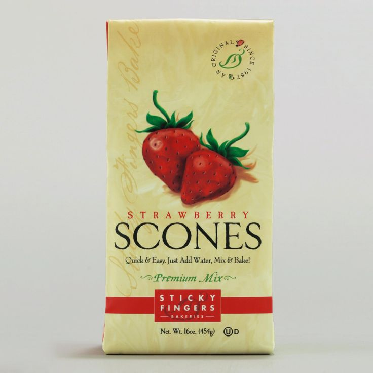 Want a berrilicious treat? Try our Sticky Fingers Bakeries Bakery Strawberry Scone Mix, made of all-natural ingredients and loaded with succulent strawberry pieces. You'll love these delicious crumbly scones with clotted cream and jam, or enjoy them plain with your coffee or tea. They're trans-fat and cholesterol free, and perfect for any time of day!