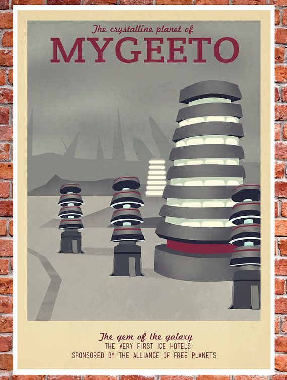 Retro Travel Poster Star Wars Mygeeto by TeacupPiranha