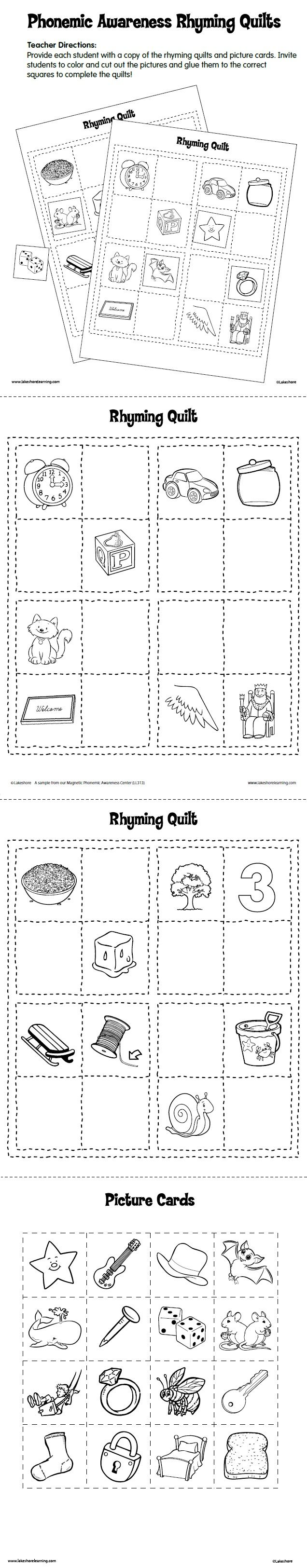 Phonemic Awareness Rhyming Quilts Free Printable