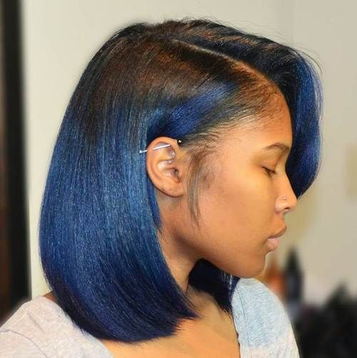 African American Black To Blue Ombre Bob