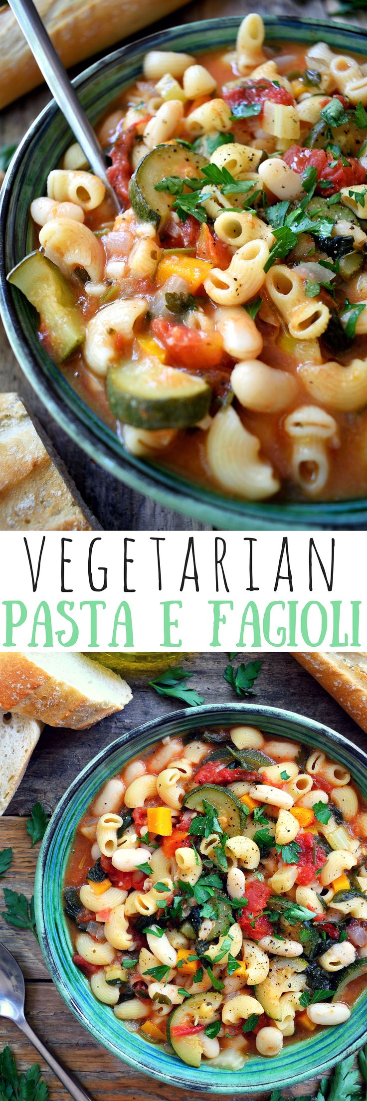 Vegetarian pasta fagioli is a simple, rustic Italian bean and pasta soup that's extremely easy to make and can be on the table in just about 30 minutes. What's fabulous about pasta e fagioli is that it's like two recipes in one – add a bit more stock for a soup and a bit less for a pasta dish! Vegetarian / vegan.