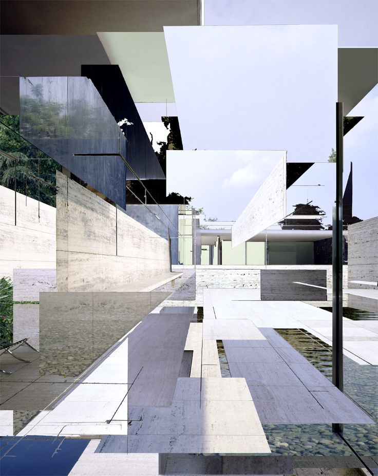 I love this beautiful collage/composition of Mies' Barcelona Pavilion.  What works for me in this composition is the color palette. Most of the photos I've taken of the pavilion focus on make contrasts in material and tone. This is a nice approach - soft and almost fluid, but distinctly linear, jagged and architectural at the same time.   - source images by Klaus Frahm