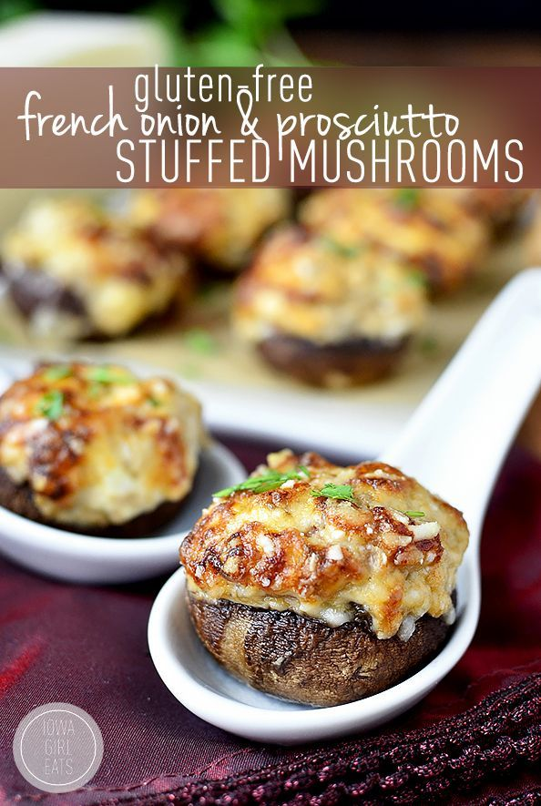 Gluten-Free French Onion and Prosciutto Stuffed Mushrooms #glutenfree | iowagirleats.com