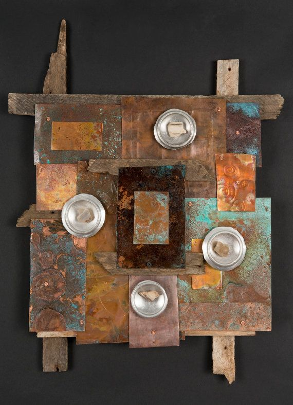 one of a kind metal and reclaimed wood wall art