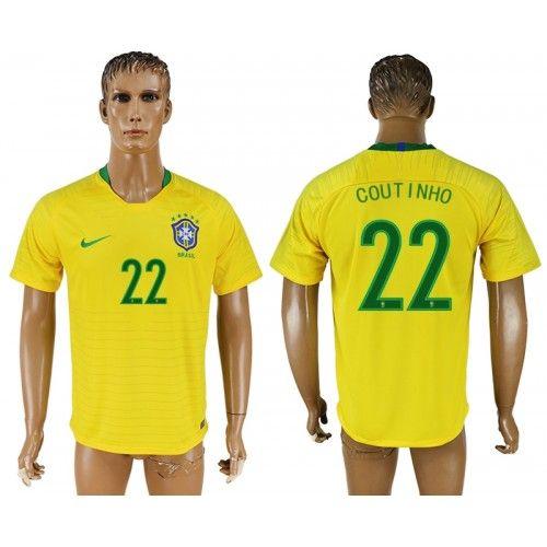 Brasilien Philippe Coutinho 22 Replika Hemmatröja Herr VM 2018  20446400d