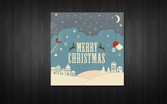 Modern Christmas Card/ Holiday Card square card by SaavyDesign