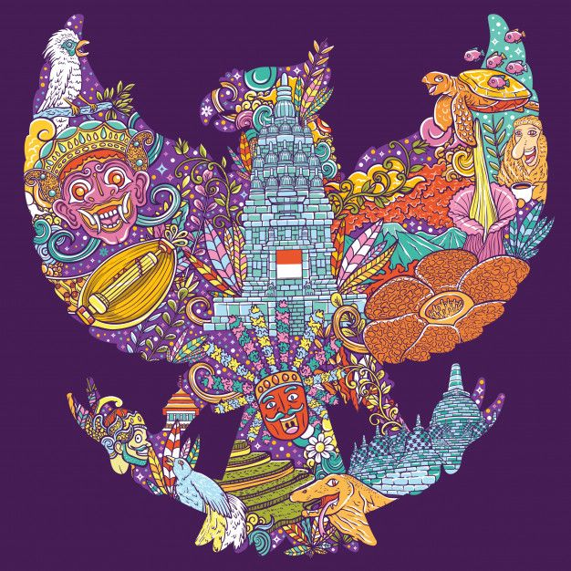 Colorful Illustration Doodle Of Indonesia With Garuda