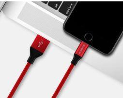 Lightning textilný nabíjací kábel FLOVEME, 100cm, červená farba, na iPhone alebo iPad..,