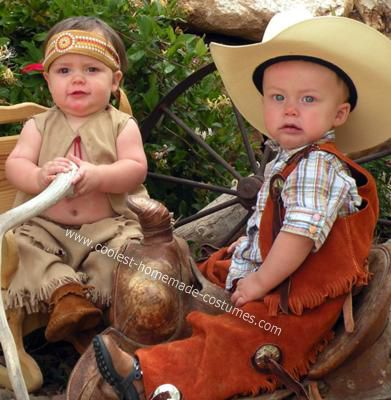 Twin Boy Cowboy and Indian Costumes: These Cowboy and Indian costumes were for my twins, I basically put together the cowboy costume from different items I searched for and bought, some retail