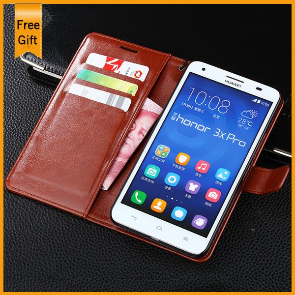 2015 New Luxury High Quality Wallet Genuine Leather Case For Huawei Honor 3X G750 Cell Phone Cover With Credit Card Holder &Gift