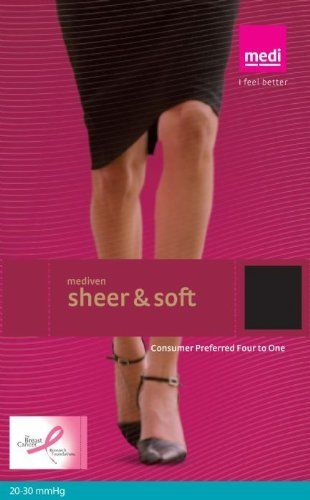 Medi Sheer&Soft Pantyhose 20-30mmHg Open Toe, II, Natural by Medi. $102.38. Unequaled sheerness With Mediven ® Sheer&Soft, only you will know that it is a medical compression hose   designed for improving leg health. Softer feel By incorporating advanced technology, mediven® Sheer & Soft accomplishes a softer feel without compromising breathability and moisture regulation for increased wearing comfort, increased compliance and increased therapeutic results. SilverPlus Advanced...