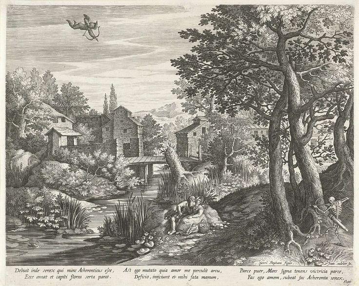 Johann Sadeler (I) | Rivierlandschap met het embleem over een ongelijk paar belaagd door Cupido en de Dood, Johann Sadeler (I), Andrea Alciati, 1595 - 1600 | Heuvelachtig landschap met een brug over een rivier. Aan de oever een ongelijk paar (een oude man en een jonge vrouw), zittend op de grond. Cupido vliegt in de lucht met pijl en boog in aanslag, de Dood staat rechts tussen de bomen met pijl en boog. Dit is de verbeelding van een embleem, waarbij het moraal van het verhaal de…