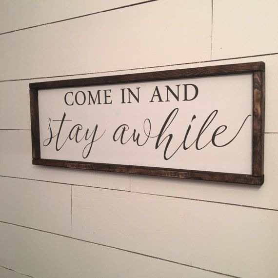 Stay Awhile, entry way, bench, pillow, basket, storage, diy sign,  farmhouse, home decor, rustic, diy home decor,  DIY decor, entry way, kitchen, living room, dining room, family room, mud room, modern, diy signs. Cozy, wall art,  wall decor #afflink