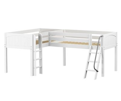 DOUBLE twin size corner Low loft bed White by Maxtrix kids furniture