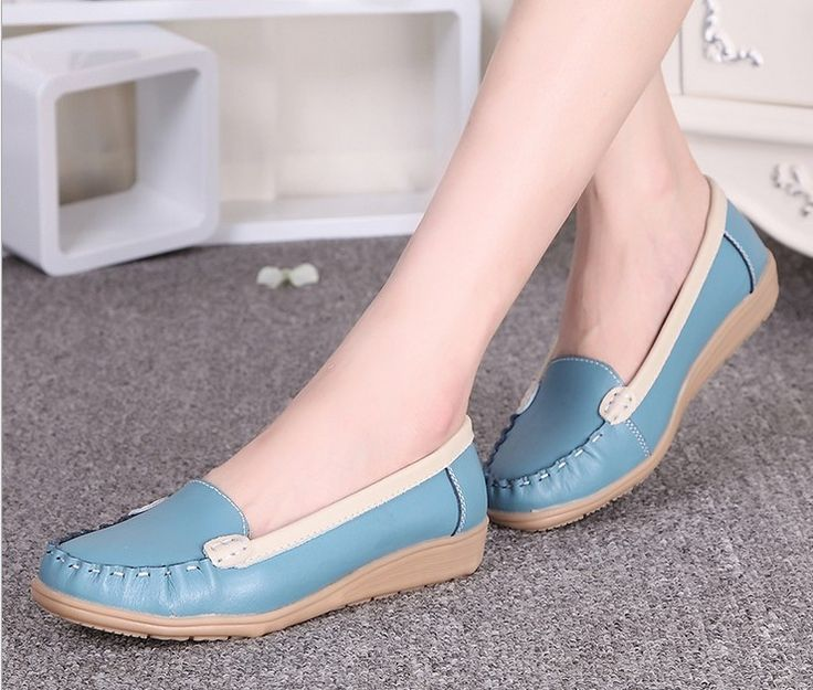 Promotions!2014 autumn mother work shoes genuine leather women shoes Slip-on Ballet Flats Comfort Anti-skid women's Single shoes