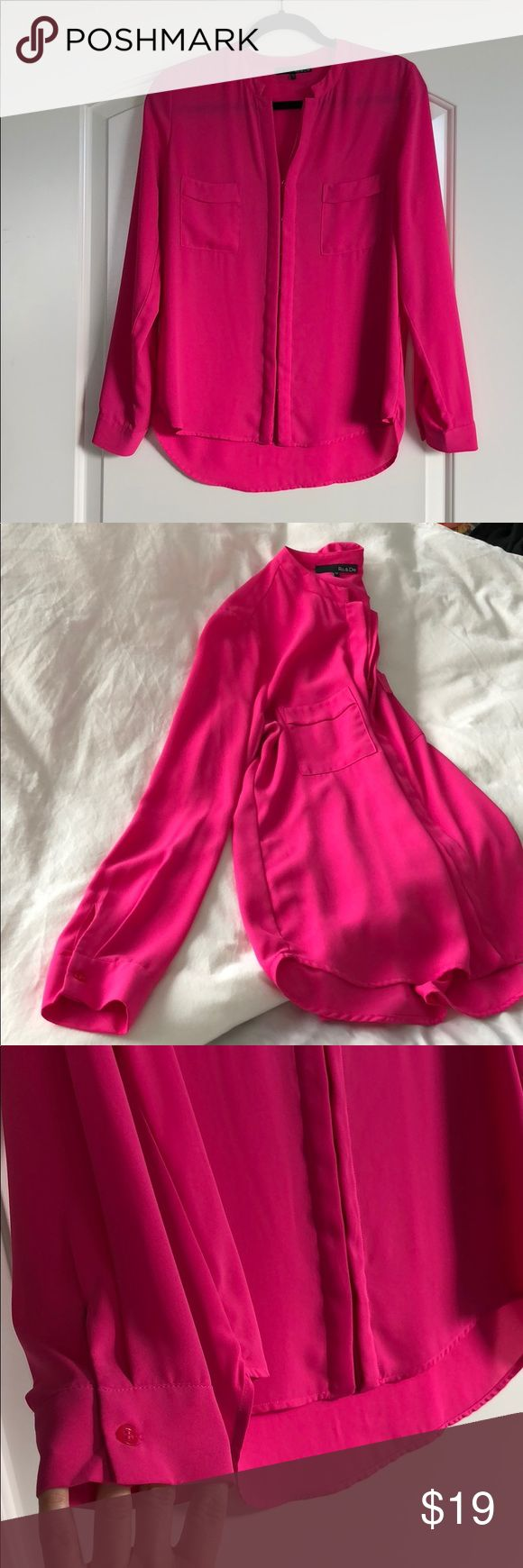 Ro & De Top Pink button up silky top. Buttons are hidden with panel of fabric on either side. Good condition. Color is brighter than in pictures. From Nord Rack *add to a bundle for a private offer!* Ro & De Tops Button Down Shirts