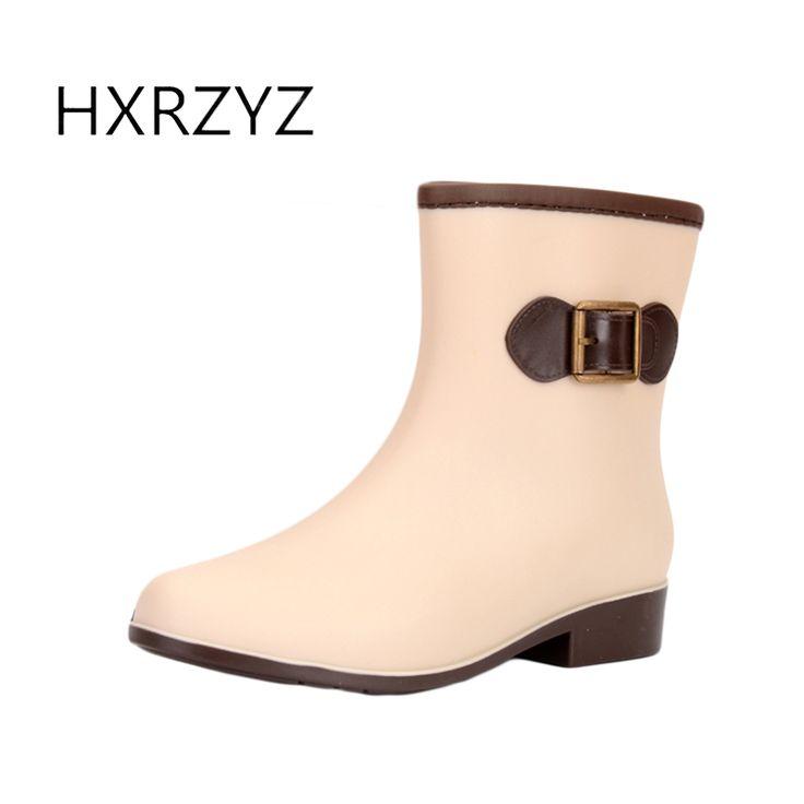 Spring/autumn shoes women new fashion women Rain Boots women PVC Buckle Slip-Resistant waterproof Ankle Rubber boots for women #Affiliate