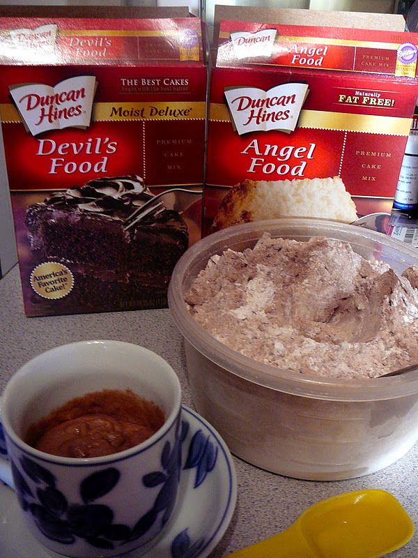Aunt Betty's 1-2-3 Cake - Use two boxes of cake mix. One can be any flavor you prefer, but the other MUST be Angel Food cake mix. Mix them together (shake them in a big ziploc bag or stir them together in a big bowl). Then simply store the mixture in an airtight container until you get the urge for dessert. Then just put three tablespoons of the dry mixture in a big coffee mug and stir in two tablespoons of water. Microwave it for one minute.